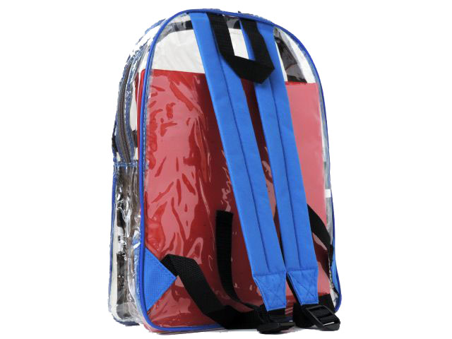Blue or Black Straps on our clear vinyl security backpack