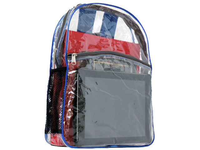 Front iPad Pocket on clear vinyl backpack